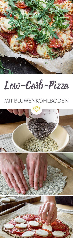 Low-Carb-Pizza für jeden Tag! Blumenkohl und Chia-Samen im Boden machen deine Pizza zu einer kohlenhydratarmen Köstlichkeit.