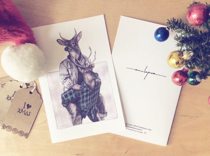 Green deers christmas card