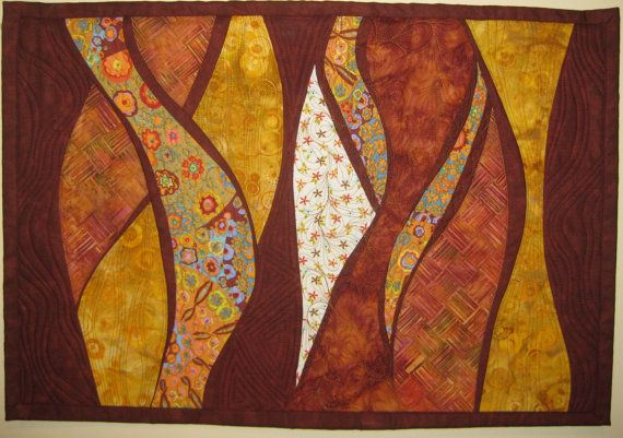 Gold Rust Waves Wall Quilt by ArtQuiltsBySharon on Etsy, $100.00