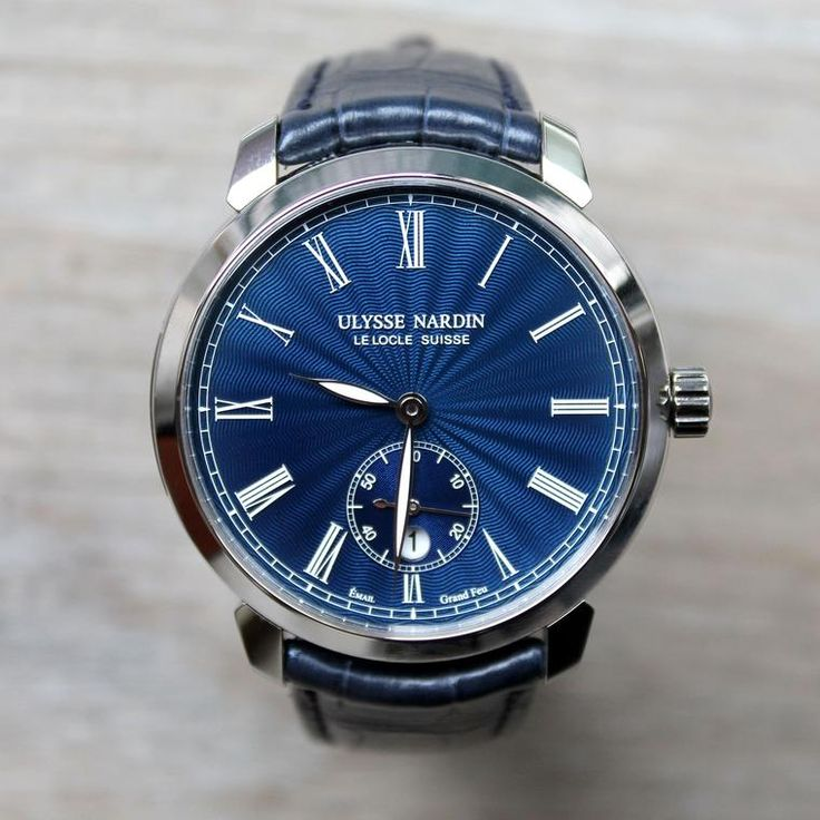 Ulysse Nardin's Classico Manufacture luxury watch with a navy-blue dial in stainless steel. http://www.thejewelleryeditor.com/shop/product/ulysse-nardin-classico-manufacture-watch/ #luxury #watch