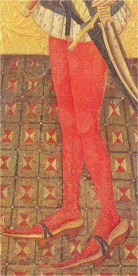 Calzas con alcorques.  Retablo de San Jerónimo de Jaime Ferrer II, 1450-60, Museo Nacional de Arte de Cataluña, Barcelona (detalle) http://opusincertumhispanicus.blogspot.com.es/2012/04/las-calzas-ii-en-el-hombre-en-la-baja.html
