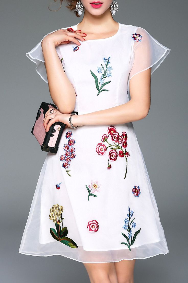 ZYYM -  A Line Embroidered Organza Dress