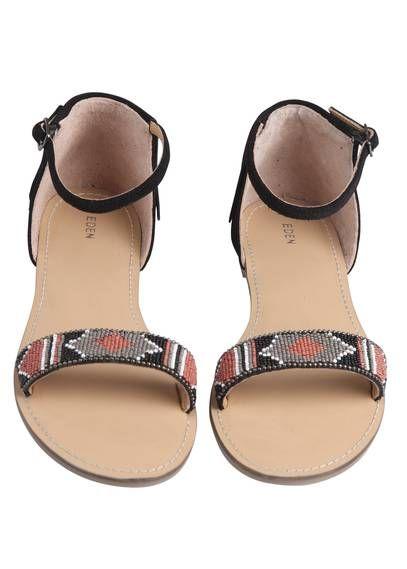 Sandales perlées cuir  Noir by EDEN