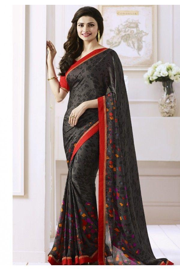 Prachi Desai In Black Georgette Saree  - Starwalk2117616