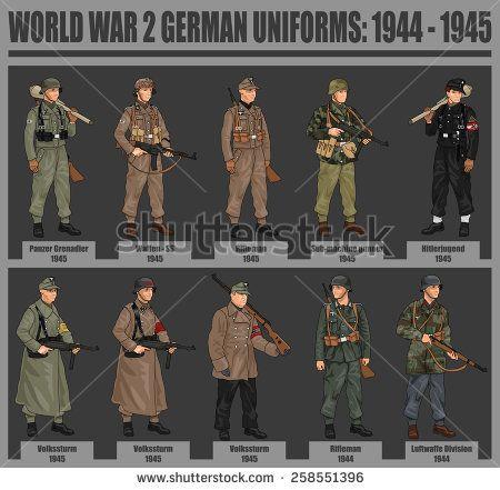 World War 2 German Soldiers in Uniforms Illustration ...