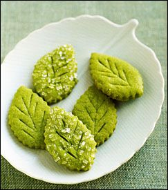 Matcha Tea Leaf Shortbreads, Easy to Veganize.
