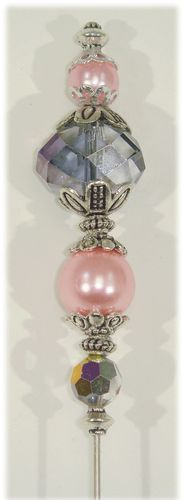 OOAK Hat Pin 6 inch Vintage and New Beads Pink and Smoke Pearls and Crystals ♥ eBay