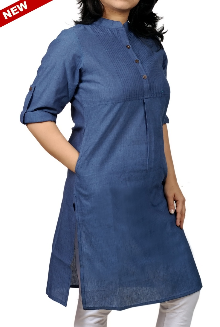 Women Corporate Kurtas,Indian Concepts ,Roll-Up Sleeves Pleated Yoke Corporate Blue Kurta