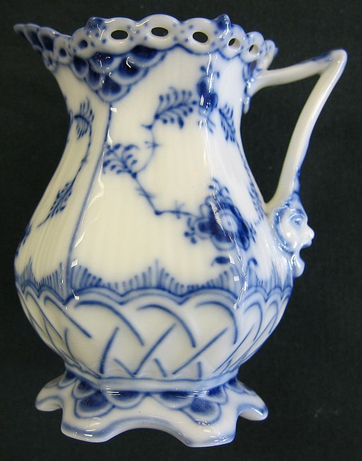 """Royal Copenhagen """"Blue and white Fluted-Full Lace"""" Creamer from crossroadsantiques on Ruby Lane:"""