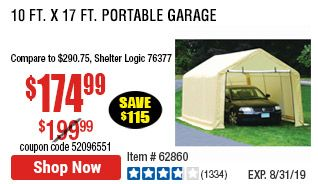 10 Ft X 17 Ft Portable Garage With Images Portable Garage 10 Things Garage