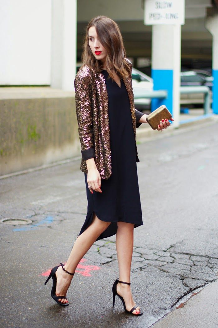 Holiday Outfit SEQUIN BLAZER | BLACK DRESS #HolidayStyle | My Style | Pinterest | Blazers ...