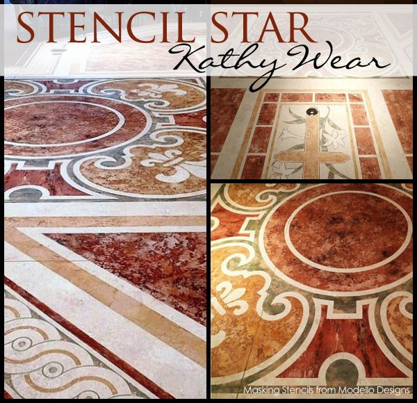 Faux marble floor by artist kathy wear using modello for Floor stencils