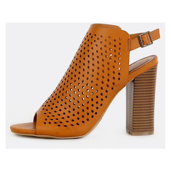Perforated Slingback Stacked Heel Mules TAN ($19) ❤ liked on Polyvore featuring shoes, tan, ankle strap shoes, tan high heel shoes, high heel shoes, high heel mule shoes and ankle wrap shoes