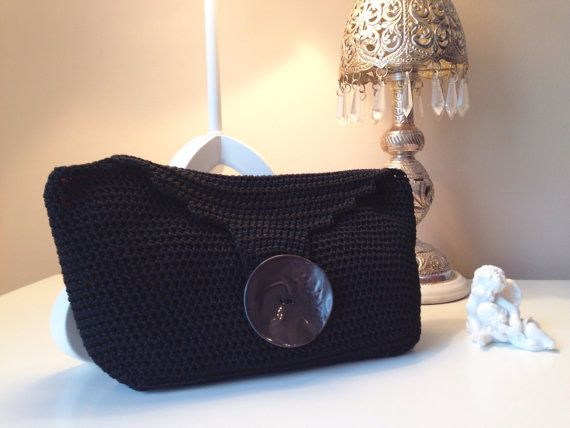 Blach crochet clutch with ivory button and fuchsia by CrochetGrace