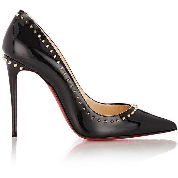Christian Louboutin Studded Anjalina Pumps ($795) ❤ liked on Polyvore featuring shoes, pumps, heels, black, heels stilettos, black high heel pumps, black patent pumps, black stilettos and heels & pumps