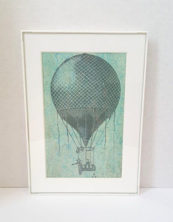 Framed Art-Gallery Wall Art- Framed Word Art- Framed Quotes- Framed Print-Vintage Inspired Art-Hot Air Balloon 5x7 Framed Art
