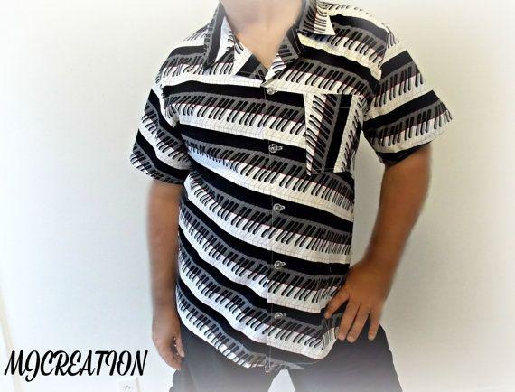 Men shirt short sleeves funny print piano print size by mjcreation