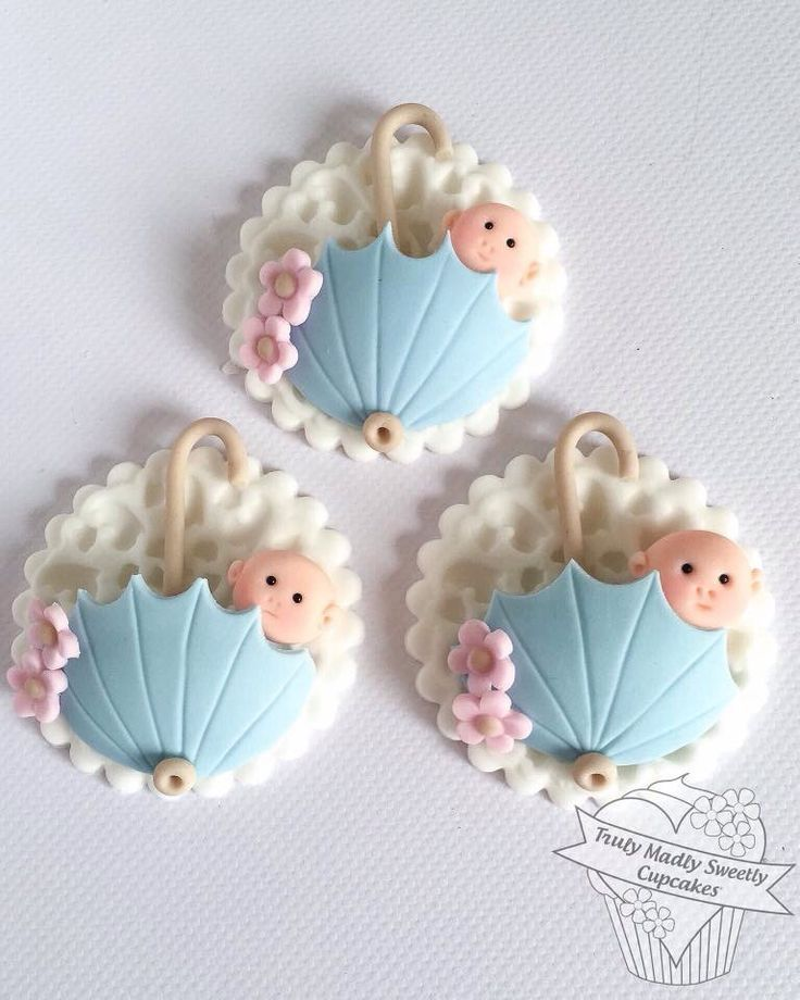 Nice Tremendous cute Child bathe cupcake toppers - umbrellas flowers child boy...