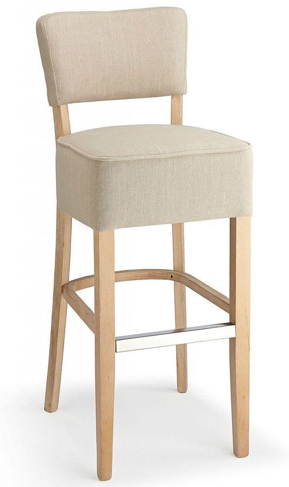 Fabric Breakfast Bar Stool Kitchen Hotel Chair Cream Upholstered Seat Furniture