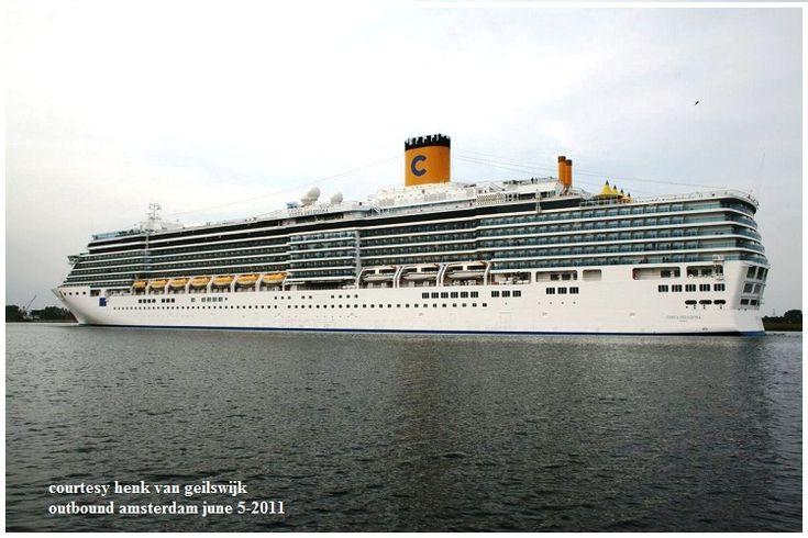 COSTA DELIZIOSA (Εξερχόμενο του Amsterdam 05/06/2011). Ιδιοκτησία: Costa Crociere - Italy. (a Carnival Corp. & Plc. company). Διαχείρηση: Costa Crociere. Παρθενικό ταξίδι στις 05/02/2010. 92.700 GT ~ 294 μ.μ. ~ 32,25 μ.πλάτος ~ 12 κατ/τα ~ 21,6 ~ 23,6 knots ~ 2.260 ~ 2.826 επ. ~ 1.100 ατ.πλ.
