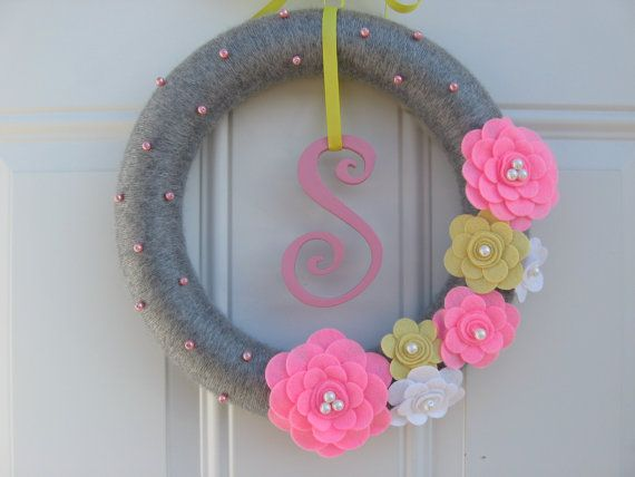 Initial Wreath-Yarn Wreath, Pink, Yellow, White and Grey with Initial wreath felt flower and yarn wreath 12 inches, Door Decoration on Etsy, $43.00