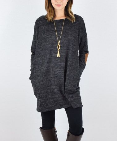 Loving this Black & Brown Side-Pocket Elbow Patch Tunic on #zulily! #zulilyfinds