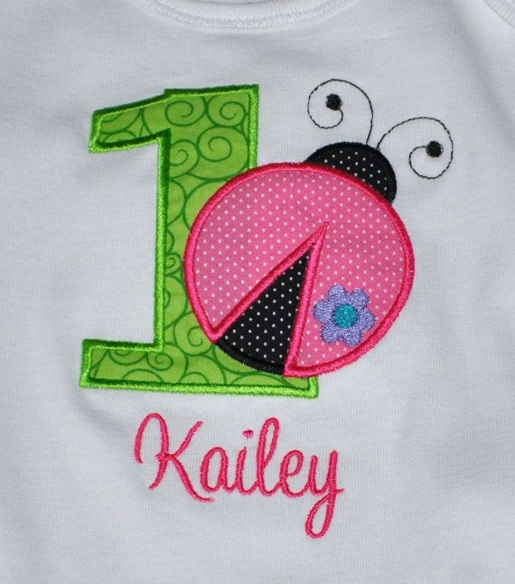 Birthday Girl Outfit - Monogrammed/Personalized First Birthday Ladybug Appliqued Onesie/Body Suit, Sizes 12 mo or 18mo via Etsy: Khloes Birthday, Girls, Girl Outfits, Birthday Girl, Birthday Ladybug, Ladybug Appliqued, First Birthdays, Ladybug Party, Body Suits