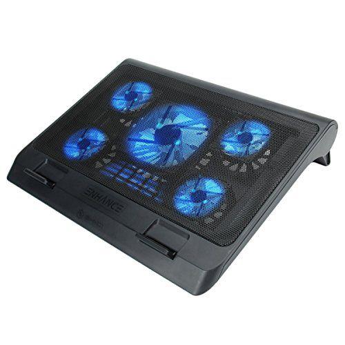 ENHANCE GX-C1 Support Refroidisseur PC Portable (40 x 32.4 cm) – 5 Ventilateurs avec LED bleus & 2 ports USB pour transfert de fichiers –…