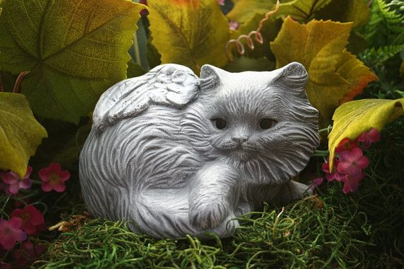 Cat Angel Statue With Long Hair  Pet Memorials by PhenomeGNOME, $34.99