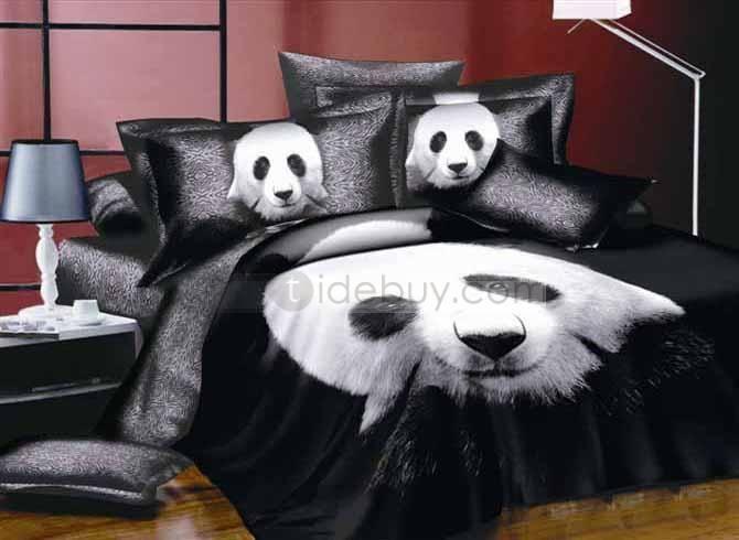 4 Piece Cute Panda Printing Whole Cotton Comforter Bedding Sets Panda Gifts Cute Panda Panda Bear