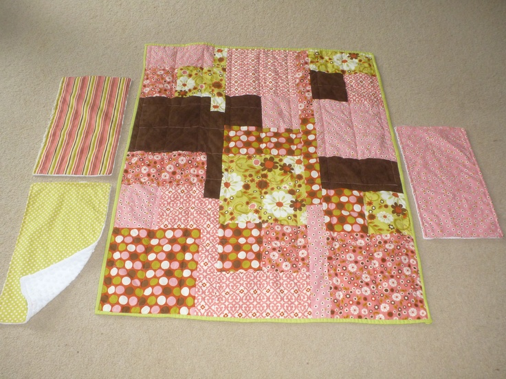 Quilt and burp cloths I made for my niece, Charli, from tutorials I found on Pinterest.