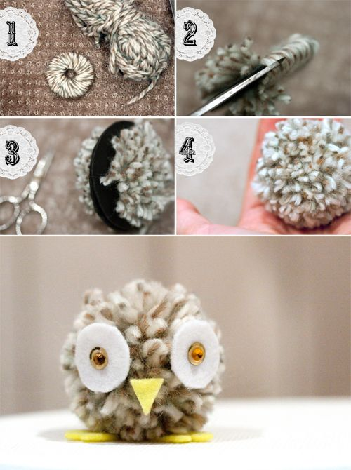 pom pom owl.  Too cute to not try!