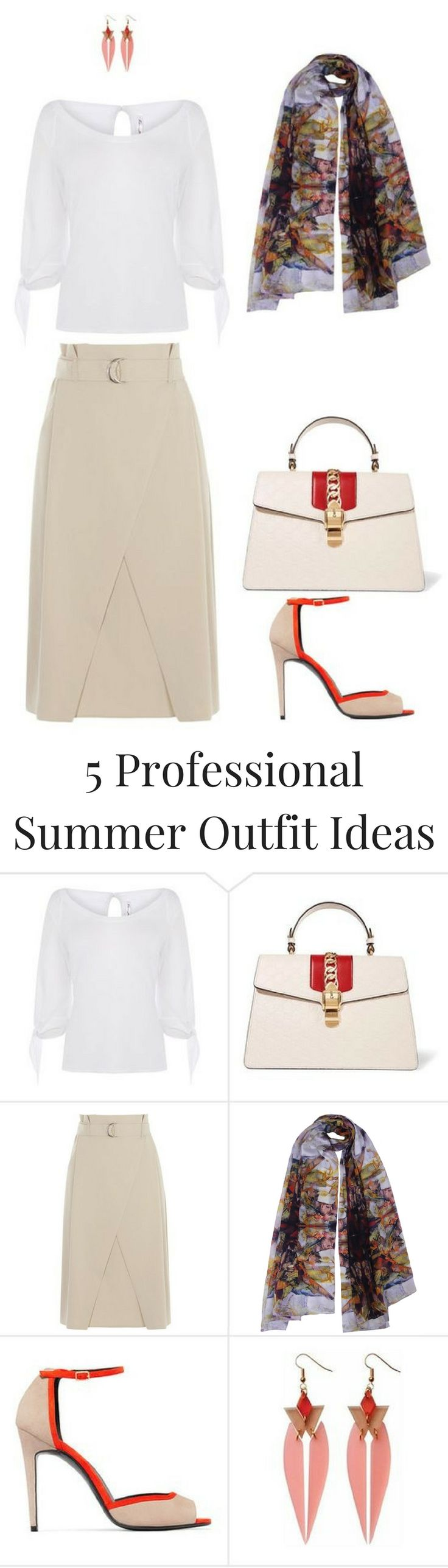 5 Professional Summer Outfit Ideas. Nude and Red outfit brightened up by accessories. Featuring Karen Millen white top and nude skirt and Aithne Musical Composition scarf. More professional summer style ideas in the blogpost.