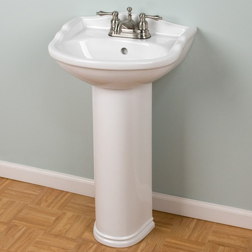 Carlton pedestal sink with 4 centers bathroom remodel for Bathroom remodel 101