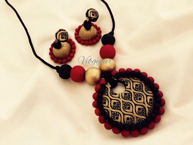 Handmade polymer clay pendant jhumka/ jhumki earring set by Vibgyour on Etsy