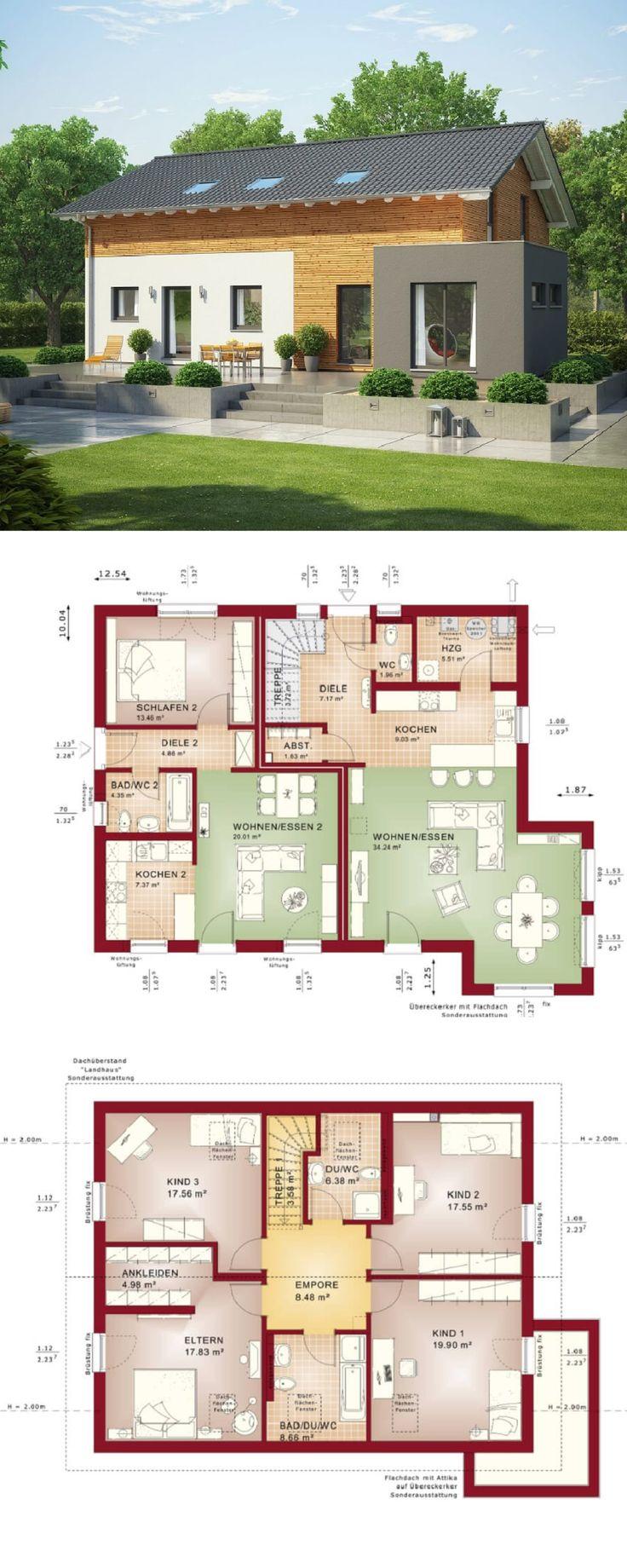 Die besten 25 einfamilienhaus mit einliegerwohnung ideen for Zweifamilienhaus modern grundriss
