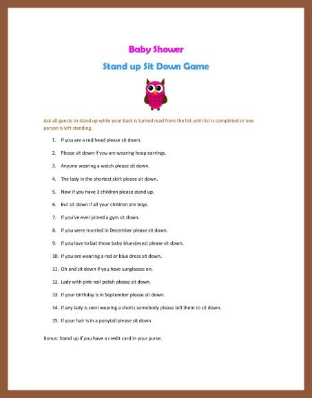 New Baby Shower Games | baby shower stand up sit down game