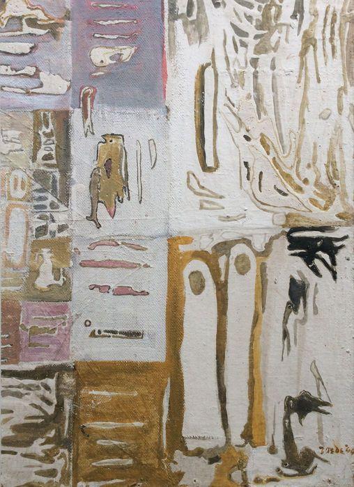 Jan Roëde - Abstract  Vroeg abstract kunstwerk van Jan Roëde: compositie met figuren en tekens. Olieverf op canvas gelijmd op hardboard in houten lijst. Formaat incl. 49 x 65 cm schilderij 40 x 59 cm. Rechtsonder gesigneerd met 'Roede' dus nog zonder de trema op de 'e' - daarmee zou de kunstenaar pas vanaf 1946 zijn kunstwerken gaan signeren. Gedateerd '44.  EUR 420.00  Meer informatie