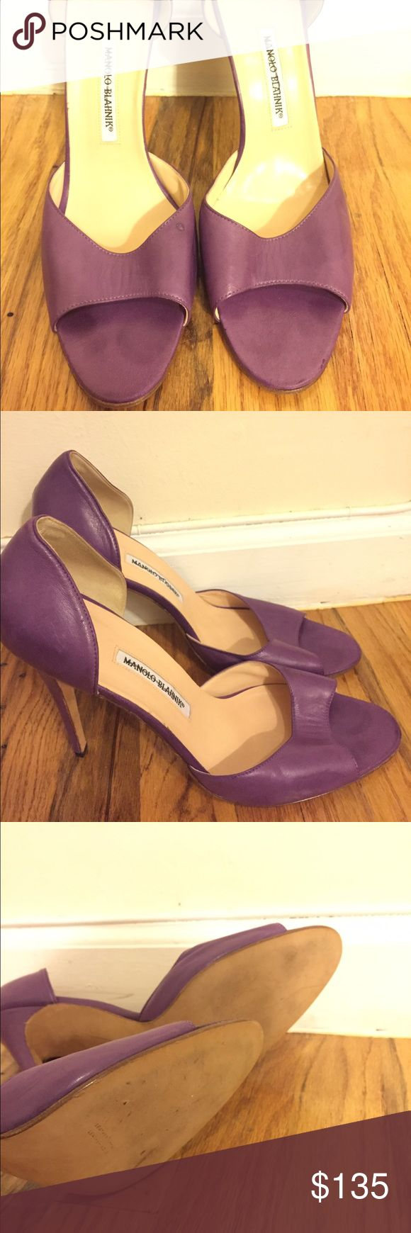 Manolo Blahnik Real smooth leather Manolo Blahnik purple shoe size 12. Heel is about 5in high. Happy Shopping!! Manolo Blahnik Shoes Sandals