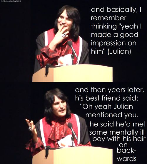 Boosh first impressions... Julian is way funny... Haha. And Noel was being Noel, so effervescent! Love these two. LOVE.