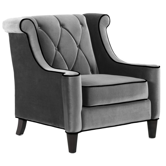 At Eurostylelighting Barrister Gray Velvet 38-Inch-W Club Chair $916.00 FREE SHIPPING posh