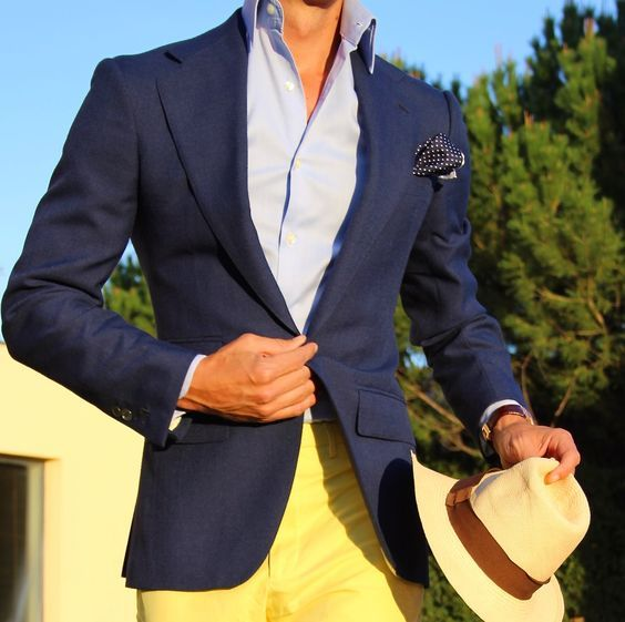 Fresh. You basically don't ever see yellow pants but with blue jackets, light blue (or white ) shirt yellow seems to work pretty well. Would wear