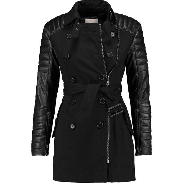 W118 by Walter Baker Keanu quilted leather-paneled cotton trench coat ($145) ❤ liked on Polyvore featuring outerwear, coats, jackets, black, zip trench coat, trench coat, quilted leather coat, zip coat and double breasted coat