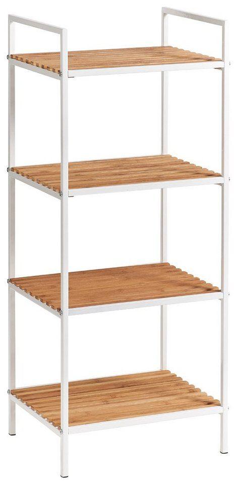Zeller Regal Standregal 4 Boden Bamboo Metall Weiss New Flat