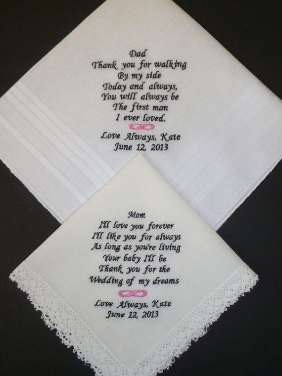 CUSTOM Embroidered Wedding Handkerchiefs by LindasSewFashionable, $50.00