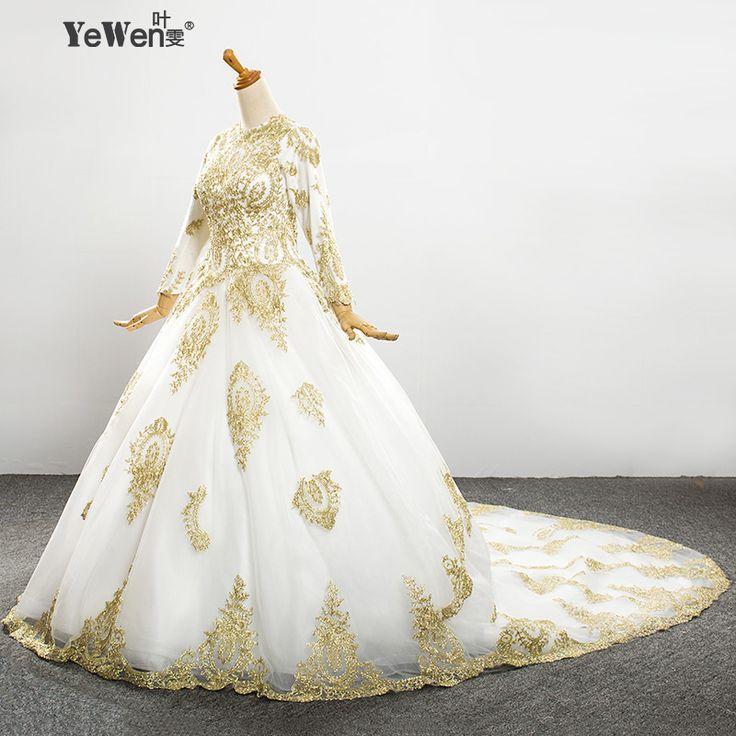 2016 винтажное сексуальное платье для невесты с длинным рукавом больших размеров цвета слоновой кости с золотым кружевом из Китая, свадебное платье с открытой спиной