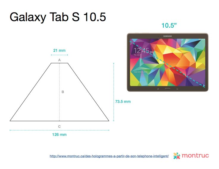 Mesures pour faire le projecteur d'hologramme 3D avec un boîtier de CD sur Galaxy Tab S 10.5 A= 21mm | B= 73.5mm | C= 126mm