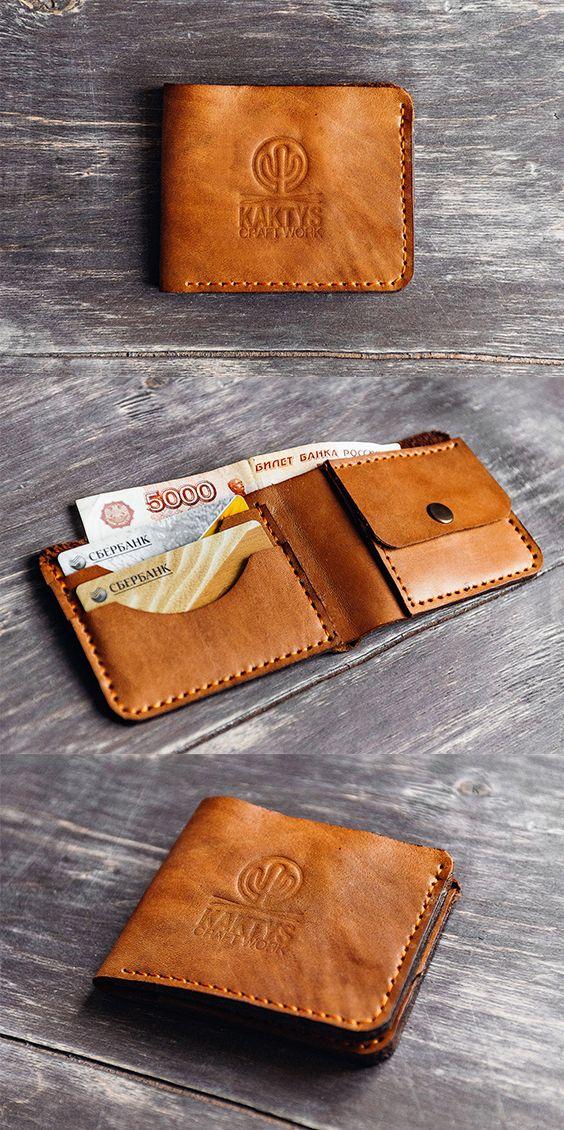 Классический бумажник с отделением для купюр, тремя отделениями под пластиковые карты и монетницей. Натуральная кожа, полностью ручная работа.  Заказать можно здесь: vk.com/kaktyscw