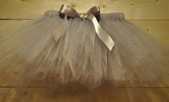Grey Silver Tutu with Satin Bow, Christmas tutu,  Girls tutu, baby tutu, silver tutu, vintage tutu on Etsy, £12.00