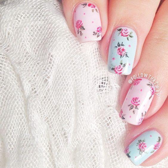 + 20 Vintage Floral Nail Art Designs 2018